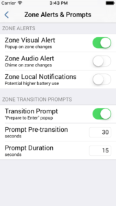 Enable Zone Alerts and Transition Prompts