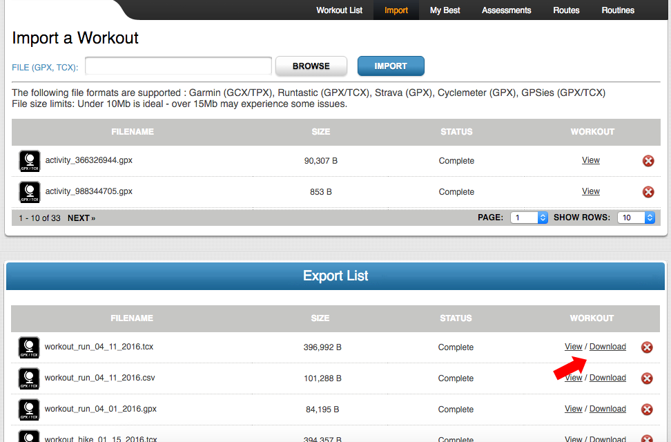 Export your Activities to CSV, TCX or GPX | Fitdigits Support