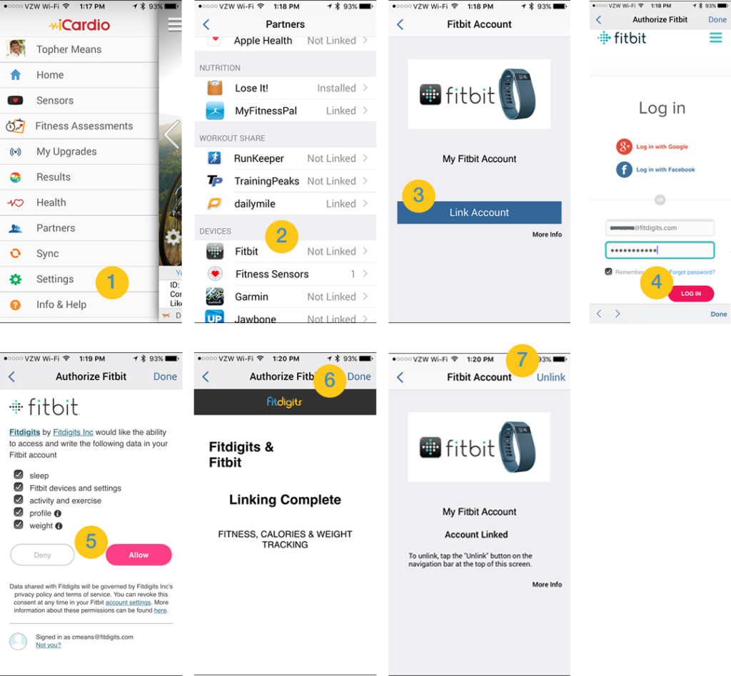 Fitdigits and Fitbit Linking