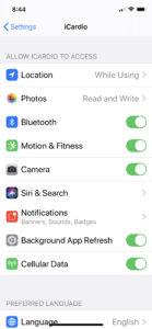 iCardio Bluetooth Permissions