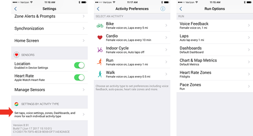 Fitdigits Activity Preferences from Settings - iOS