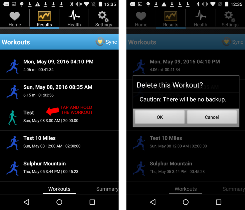 Delete workouts - Android