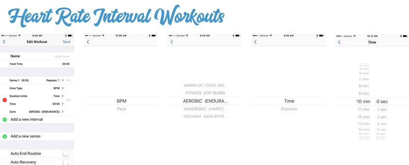Heart rate zone structured interval workouts