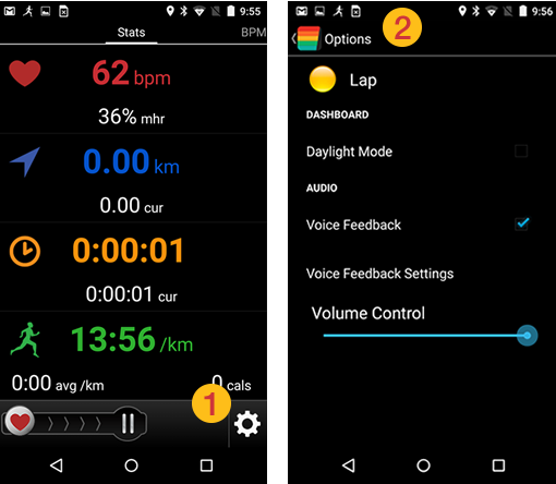 Fitdigits Android Apps in workout audio settings