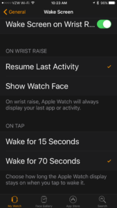 Apple Watch General Settings
