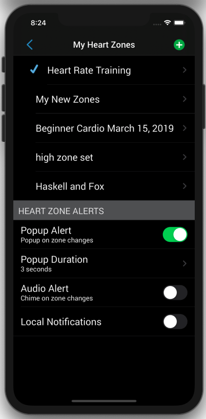 Heart Rate Training Audio Options